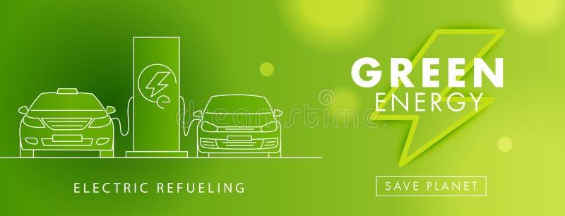 Electro сила, зеленый символ энергии и линейные electro автомобили на обязанности на иллюстрации зарядной станции иллюстрация штока