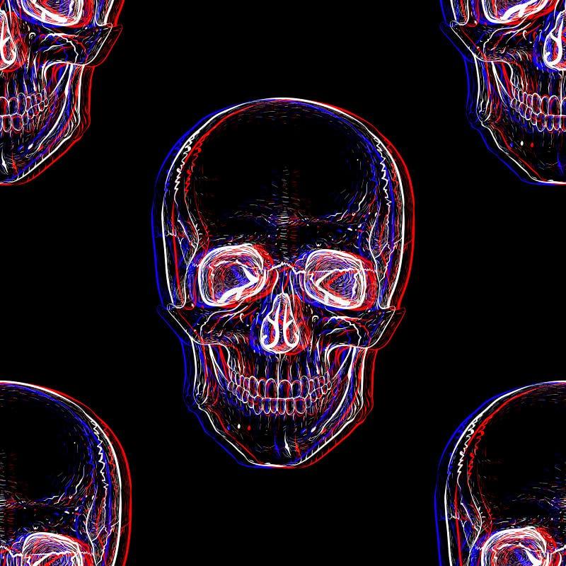 Electro czaszka bezszwowy wzoru ilustracji