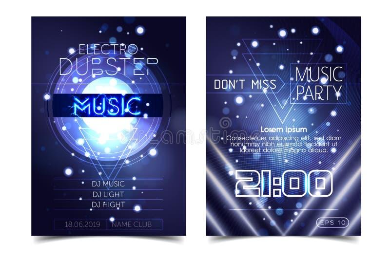Electro dźwięka przyjęcia muzyki plakat Elektroniczny klub zgłębia muzykę Muzykalny wydarzenie dyskoteki transu dźwięk Nocy party ilustracji