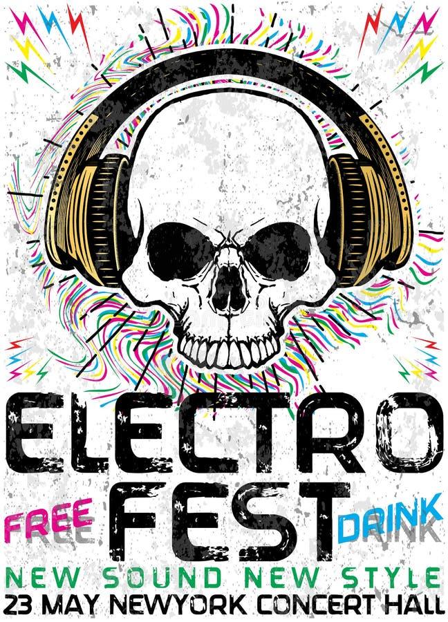 Electro diseño del cartel de la música del Fest ilustración del vector