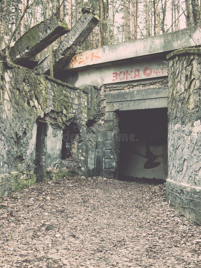 electro edificio abandonado de la estación - efecto del vintage fotografía de archivo