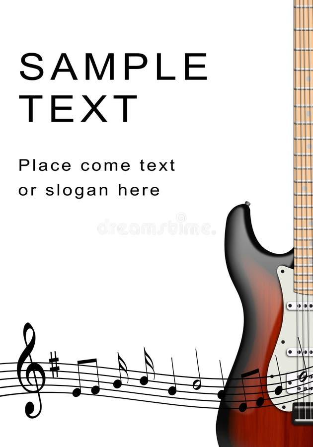 Electro guitarra y notas musicales ilustración del vector