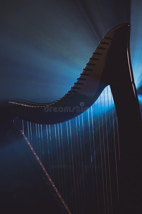 Electro harpa i strålarna av ljus arkivbild