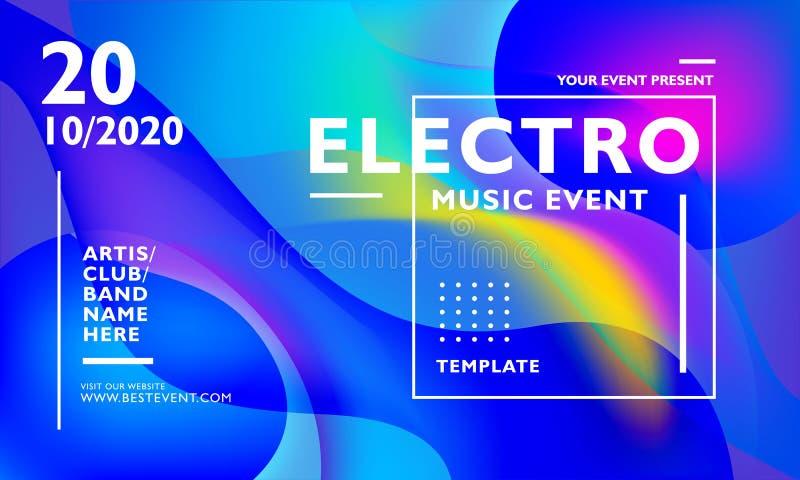 Electro mall för musikhändelseaffisch med färgrik krabb abstrakt bakgrund För händelse, festival, konsert, karneval och andra royaltyfri illustrationer