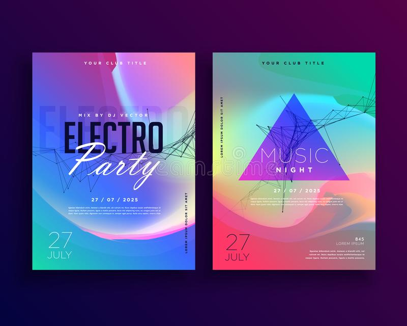 Electro music colorful party event flyer template design. Vector vector illustration