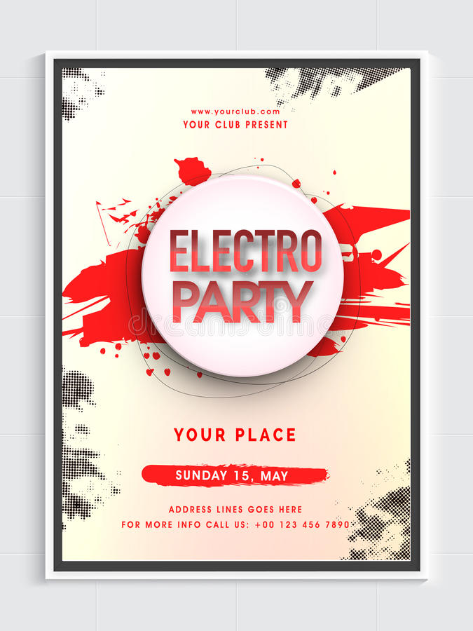 Electro Musical Party Flyer Or Banner Stock Illustration