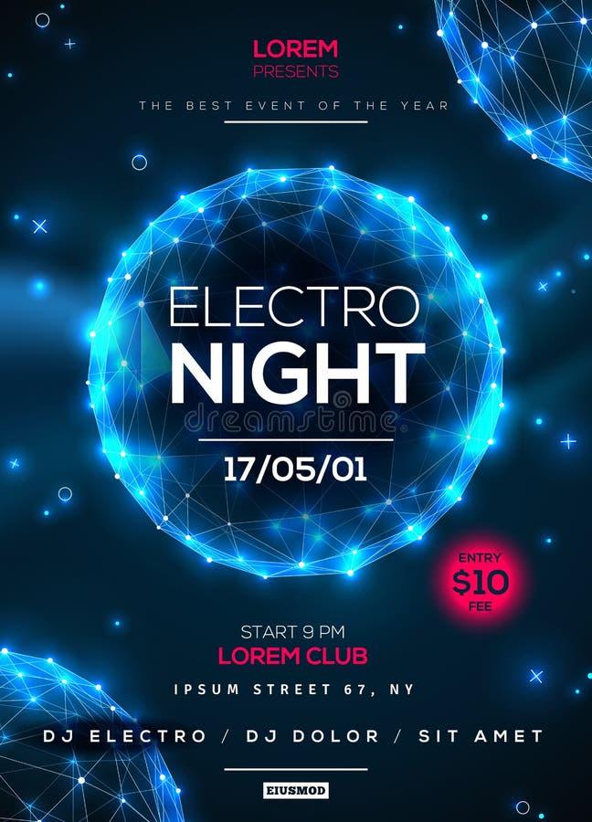 Electro nocy przyjęcia plakata szablon ilustracji