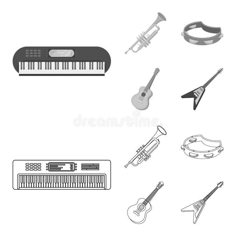 Electro organ, trąbka, tambourine, smyczkowa gitara Instrument muzyczny ustawiać inkasowe ikony w konturze, monochromu styl royalty ilustracja