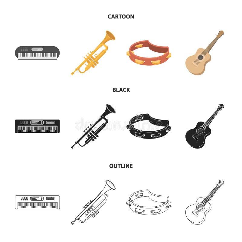 Electro organ, trąbka, tambourine, smyczkowa gitara Instrument muzyczny ustawiać inkasowe ikony w kreskówce, czerń, kontur royalty ilustracja