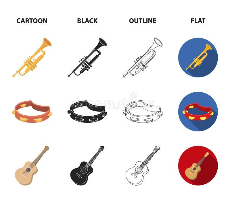 Electro organ, trąbka, tambourine, smyczkowa gitara Instrument muzyczny ustawiać inkasowe ikony w kreskówce, czerń, kontur ilustracja wektor
