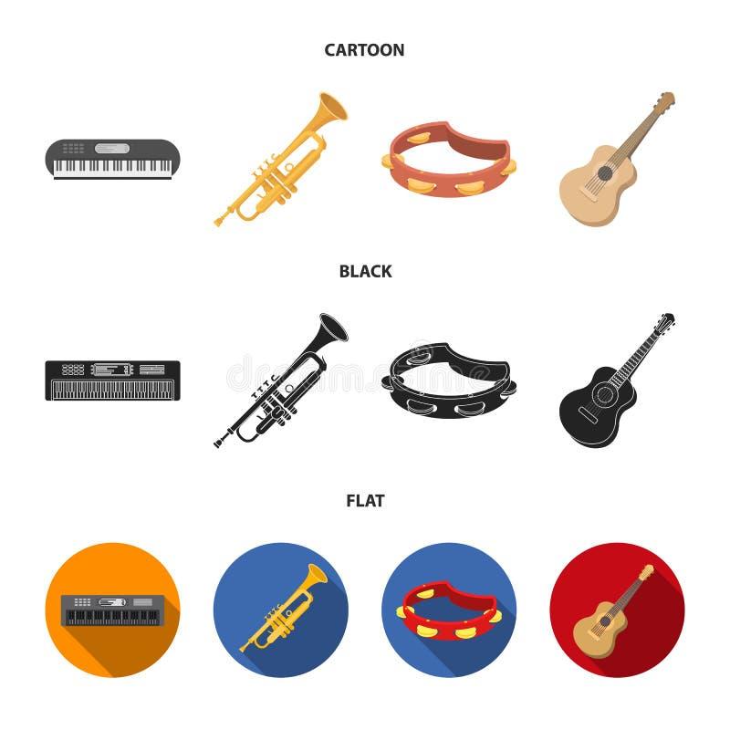 Electro organ, trąbka, tambourine, smyczkowa gitara Instrument muzyczny ustawiać inkasowe ikony w kreskówce, czerń, mieszkanie st royalty ilustracja