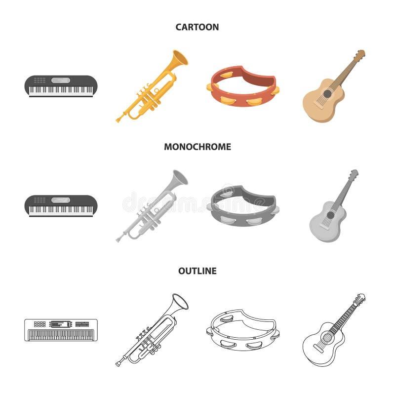 Electro organ, trąbka, tambourine, smyczkowa gitara Instrument muzyczny ustawiać inkasowe ikony w kreskówce, kontur ilustracja wektor