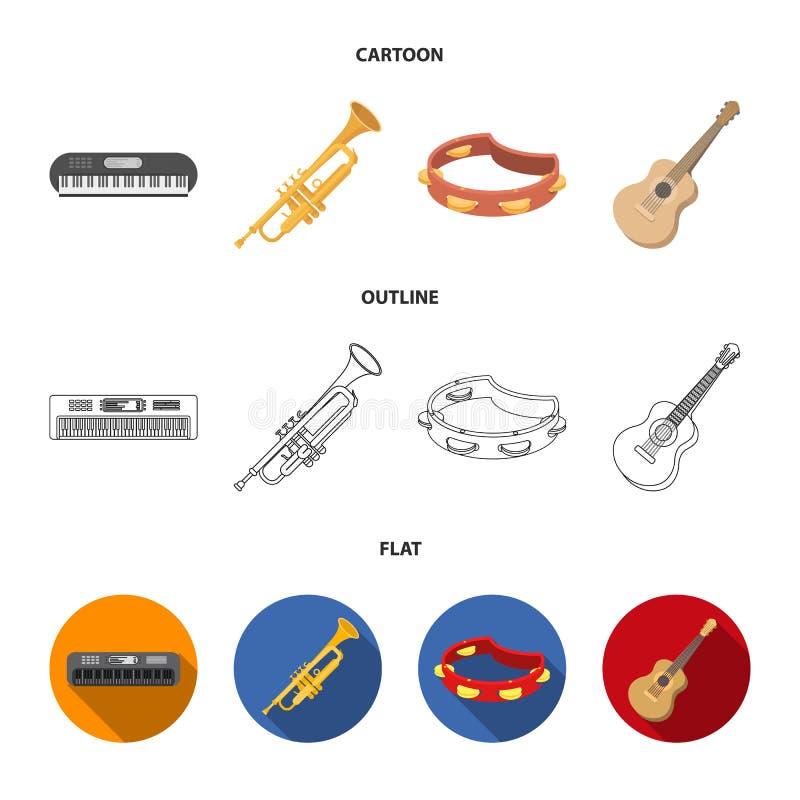 Electro organ, trąbka, tambourine, smyczkowa gitara Instrument muzyczny ustawiać inkasowe ikony w kreskówce, kontur, mieszkanie ilustracji