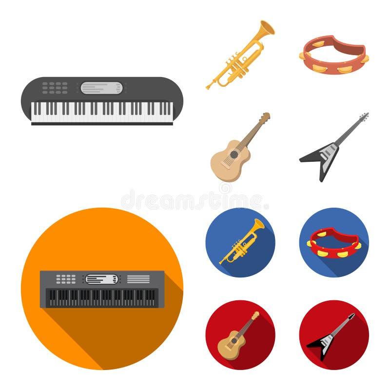 Electro organ, trąbka, tambourine, smyczkowa gitara Instrument muzyczny ustawiać inkasowe ikony w kreskówce, mieszkanie stylowy w royalty ilustracja