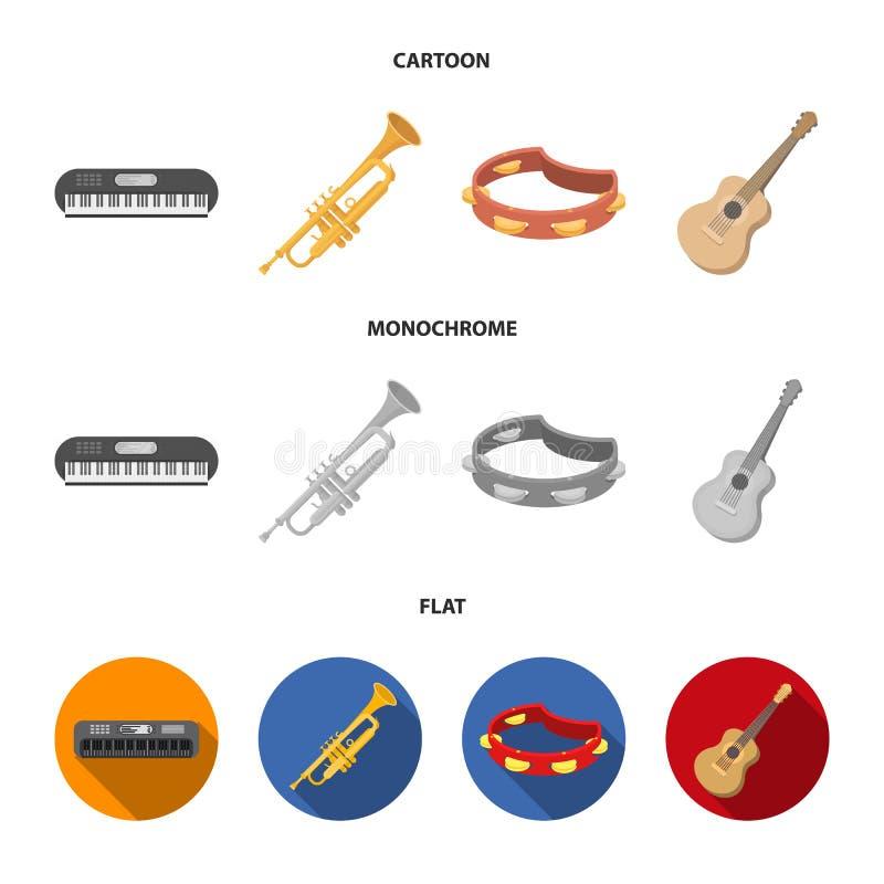 Electro organ, trąbka, tambourine, smyczkowa gitara Instrumenty muzyczni ustawiają inkasowe ikony w kreskówce, mieszkanie, monoch ilustracja wektor