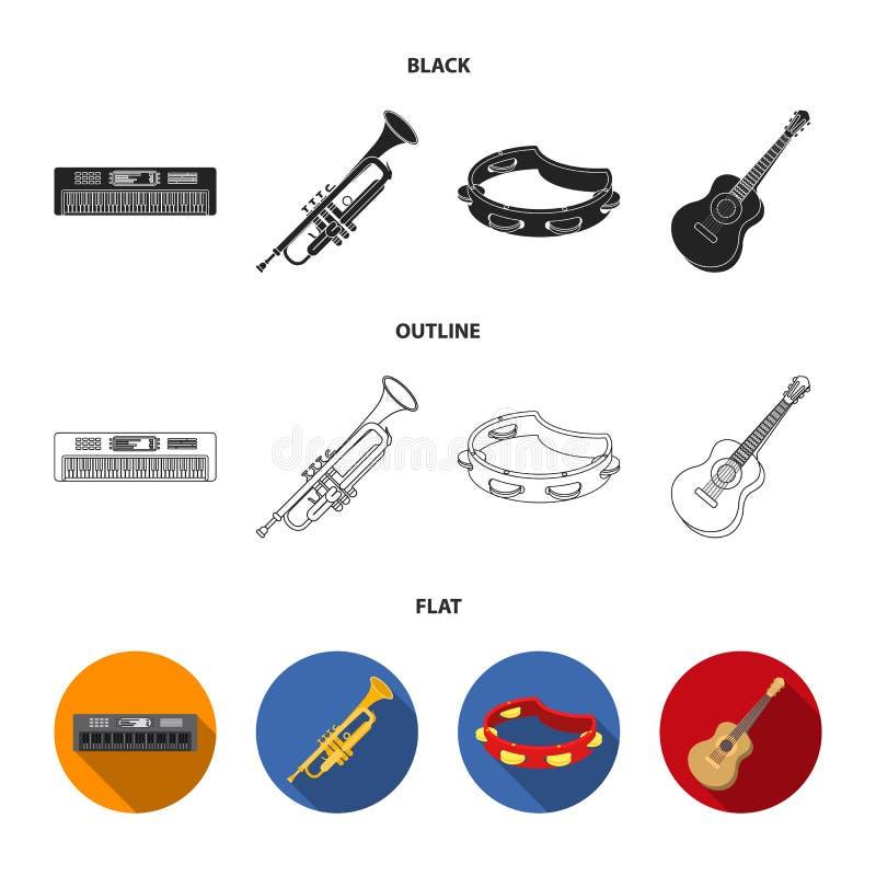 Electro organ, trumpet, tamburin, radgitarr Musikinstrument ställde in samlingssymboler i svart, lägenheten, översiktsstil royaltyfri illustrationer