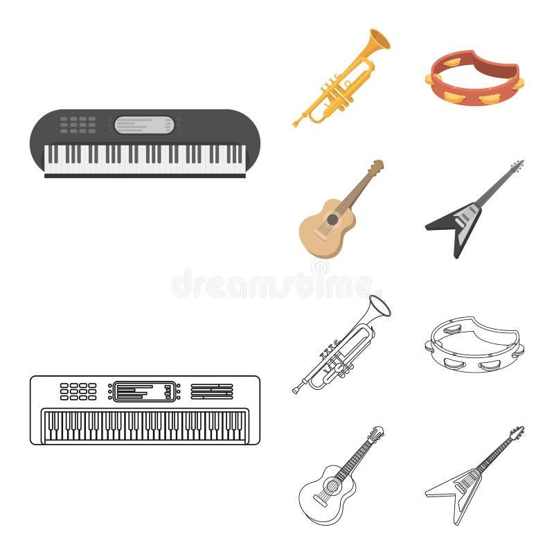 Electro organ, trumpet, tamburin, radgitarr Musikinstrument ställde in samlingssymboler i tecknade filmen, översiktsstil stock illustrationer