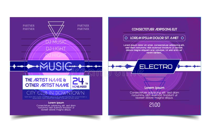 Electro party advertising music flyer or banner. Music clab fashioned poster design. Vector house music background. stock illustration