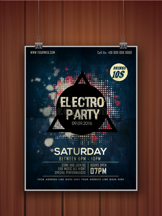 Electro Party celebration flyer or banner. vector illustration