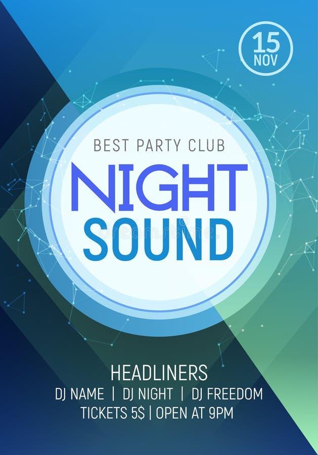 Electro prywatka muzyczny noc plakata szablon Electro stylu koncerta dyskoteki klubu przyjęcia wydarzenia zaproszenie royalty ilustracja