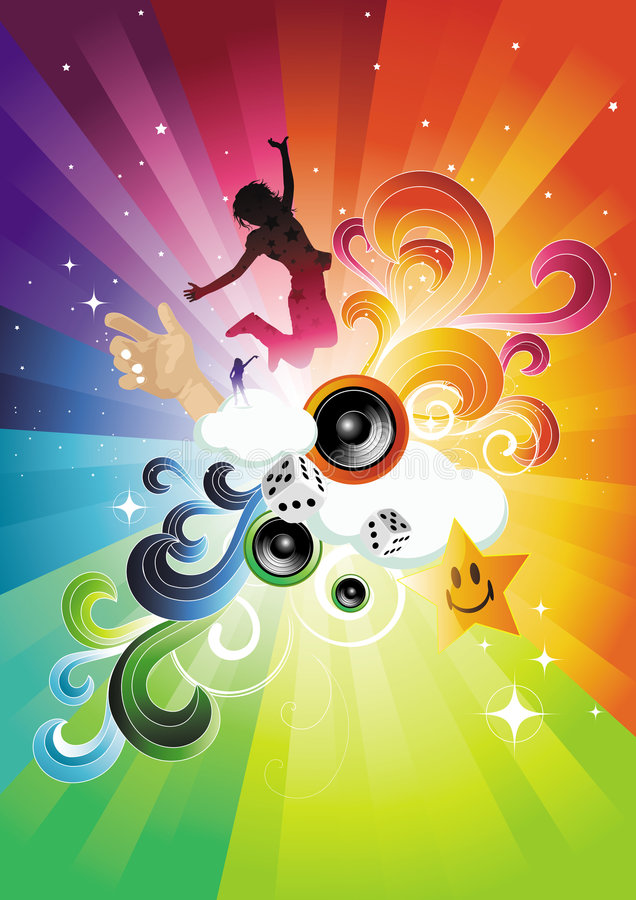 Download Electro Rainbow Blast stock vector. Image of girls, dancing - 5678329