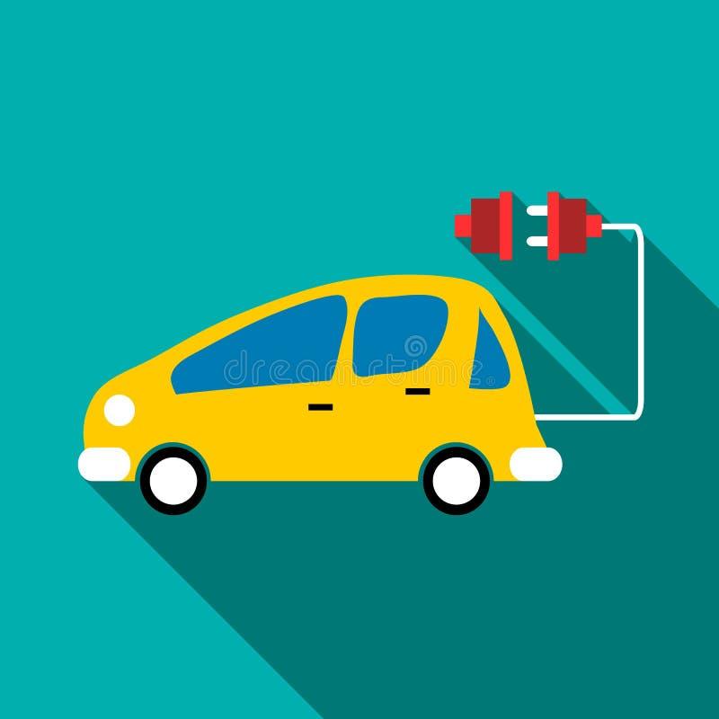 Electro samochodowa ikona, mieszkanie styl ilustracja wektor
