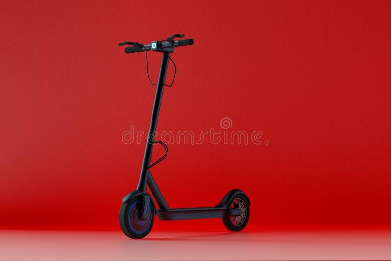 Electro sparkcykel i en röd tolkning för rum 3d stock illustrationer