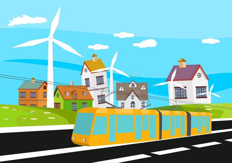 Electro train driving on the railway, village houses and green hilld on background, countryside vector illustration