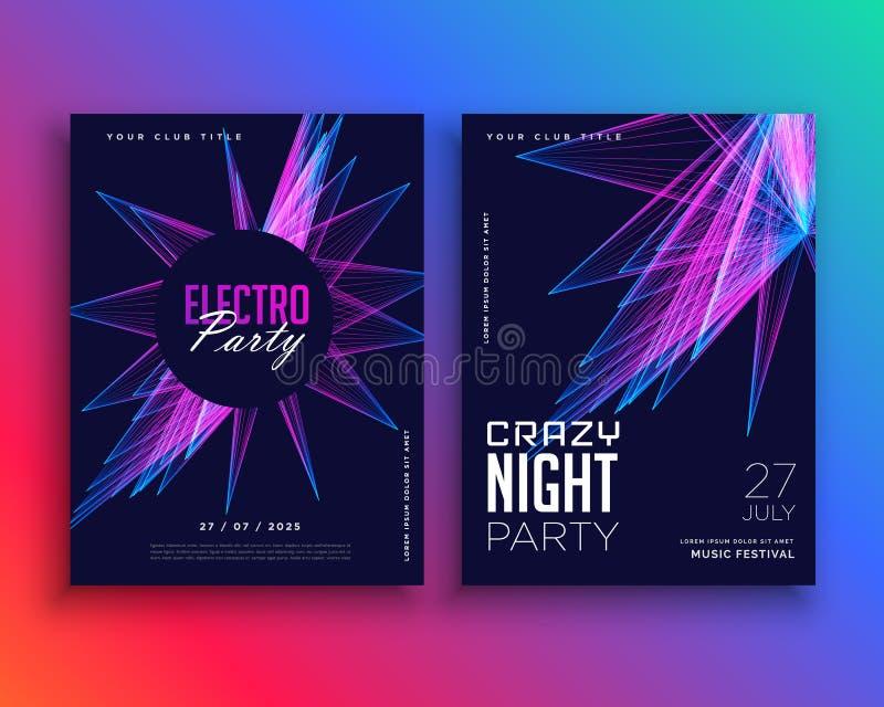 Electro ulotki szablonu partyjny muzyczny zaproszenie royalty ilustracja