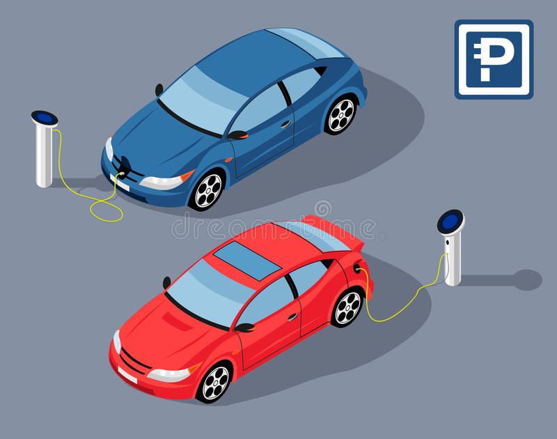 Electrocar parkering stock illustrationer