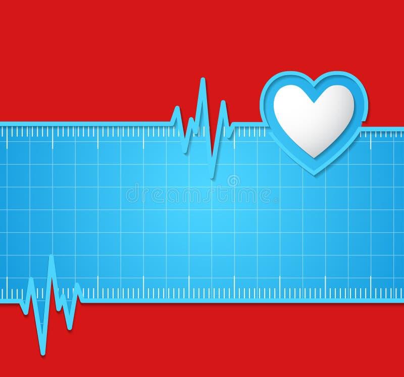 electrocardiogram Útil como o fundo para médico, electrocardio ilustração do vetor