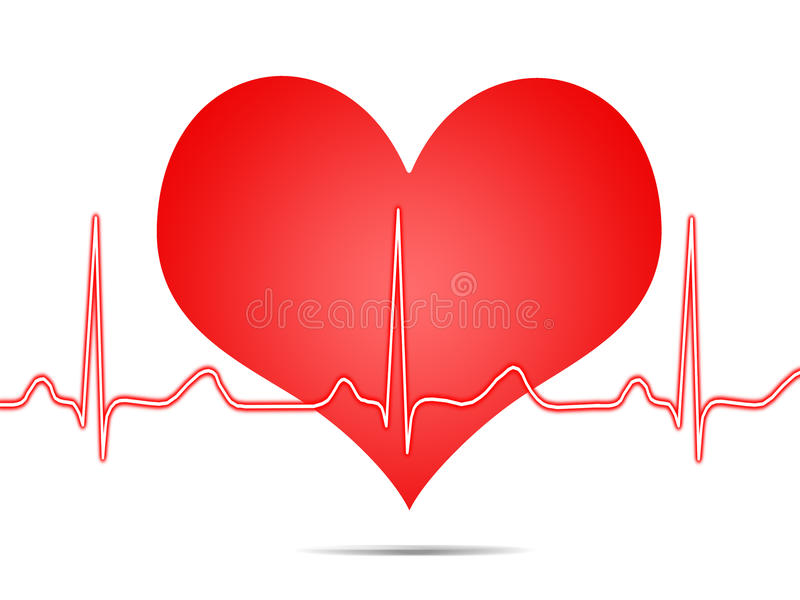 Electrocardiogram, ecg, graph, pulse tracing stock illustration