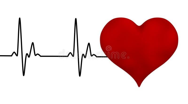 Electrocardiogram heartbeat pulse heart background. 3D vector illustration