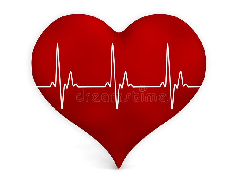 Electrocardiogram heartbeat pulse heart background vector illustration