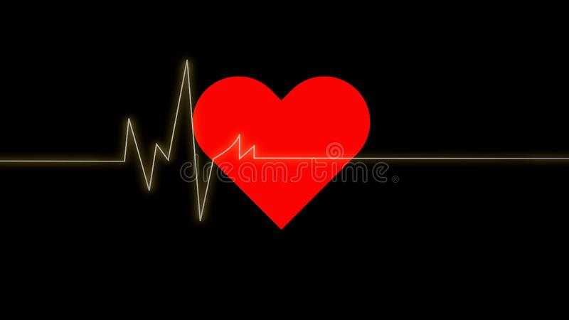 Electrocardiogram. Heartbeat waves on red heart over black background.Symbol of medical cardiovascular health care problems due t vector illustration