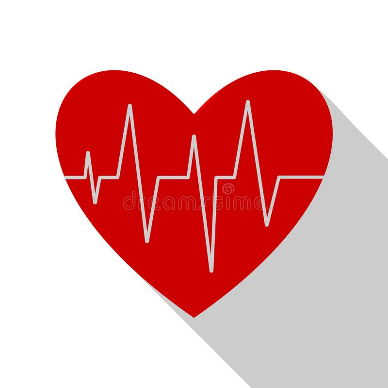 Electrocardiogram icon with long shadow. Heart cardio. Eps10. Vector illustration. royalty free illustration