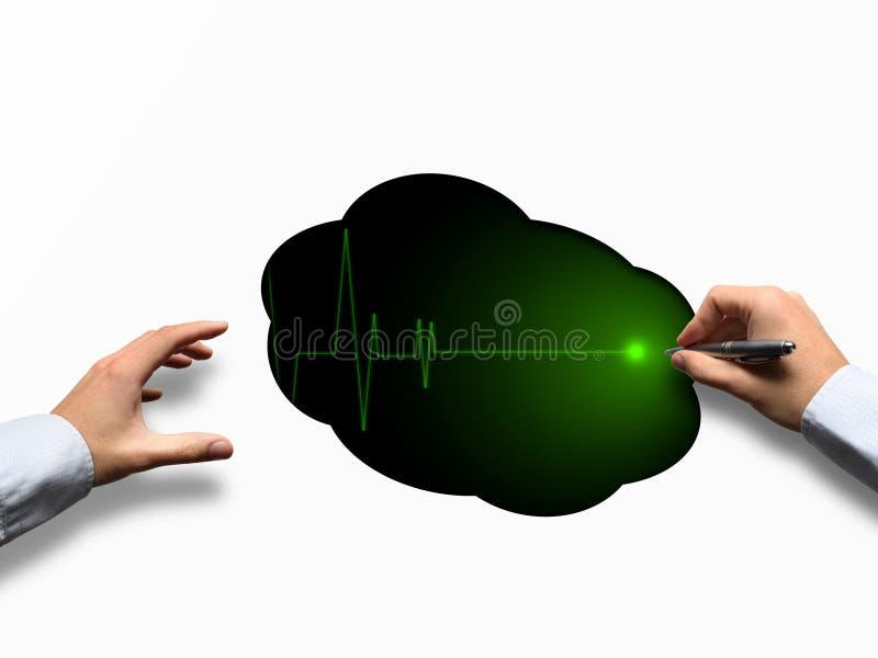 electrocardiogram medisch concept met handen stock foto's