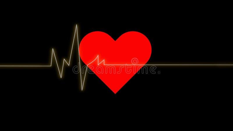 electrocardiogram A pulsação do coração acena no coração vermelho sobre o backg preto ilustração do vetor