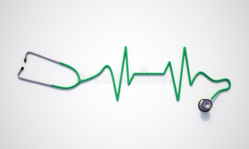 Electrocardiogram shaped stethoscope stock illustration