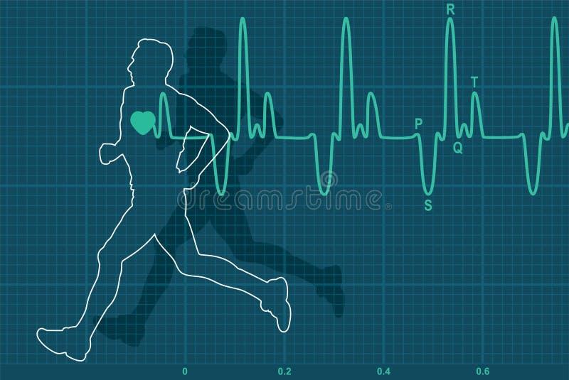 Electrocardiograma del latido del corazón y hombre del funcionamiento ilustración del vector