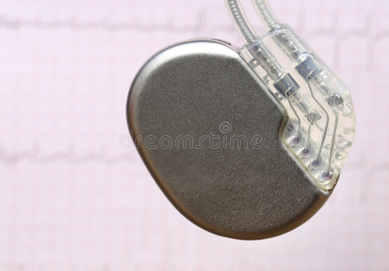 Electrocardiograph with pacemaker. Close up of Electrocardiograph with pacemaker royalty free stock photography