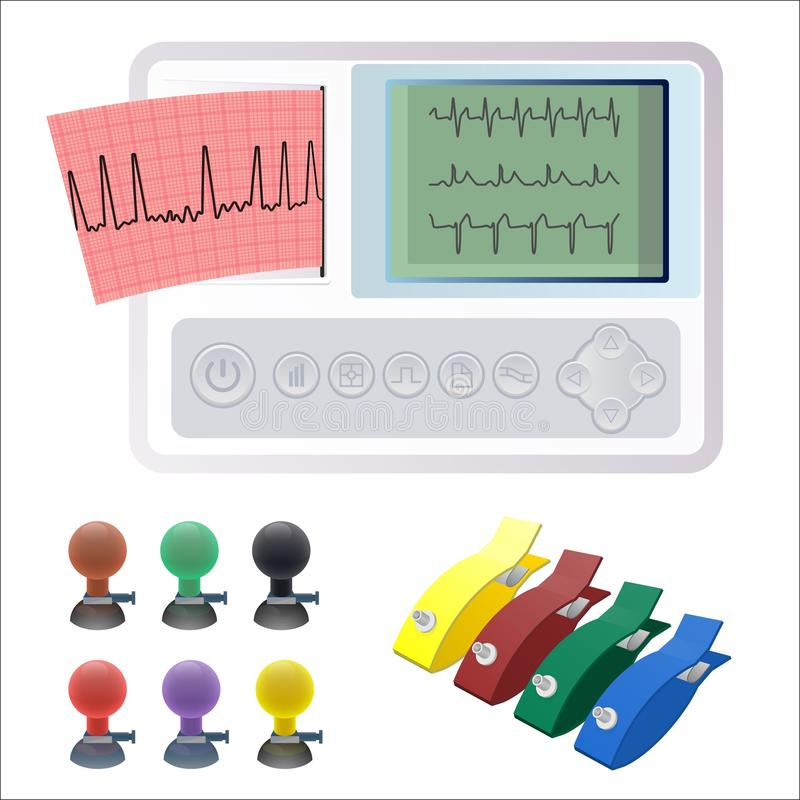 Electrocardiography ECG or EKG machine recording electrical activity of heart. Using electrodes placed on skin. Electrocardiographs makes electrocardiogram royalty free illustration