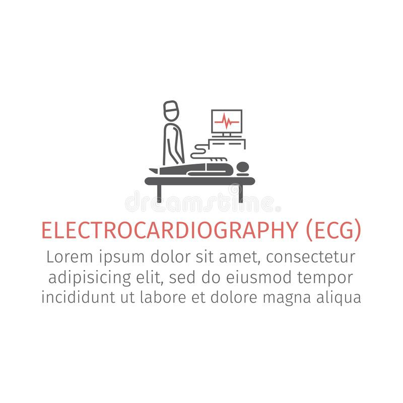 Electrocardiography icon. Vector signs for web graphics royalty free illustration