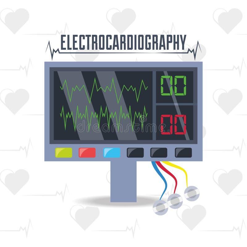 electrocardiograpy machine om hartritme te kennen vector illustratie