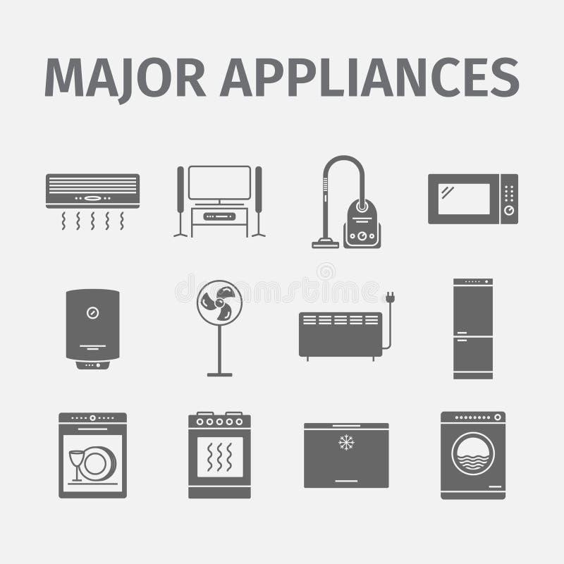 Electrodomésticos del vector e icono importantes de la electrónica ilustración del vector