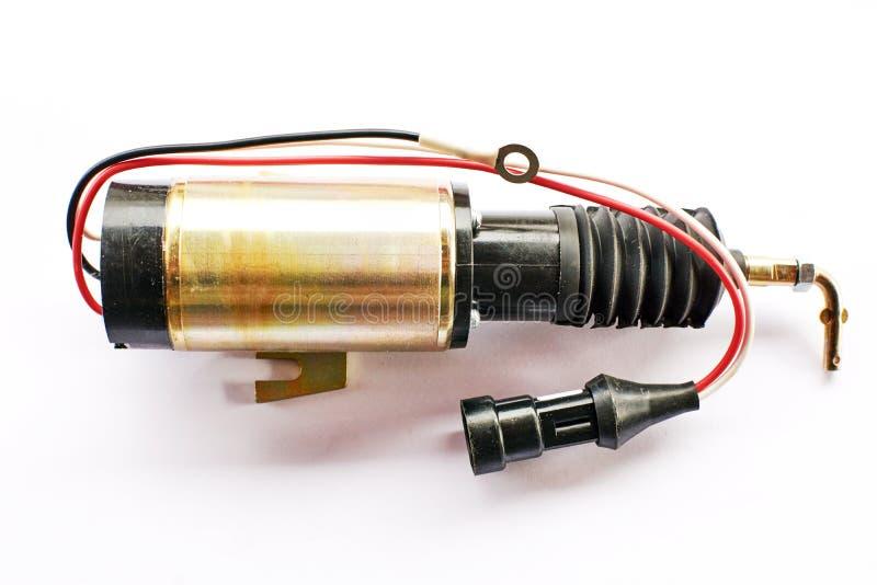 Electroimán de la parada del motor de coche encendido fotografía de archivo