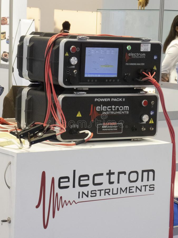 Electrom Instruments. Berlin, Germany - June 19, 2018: Electrom Instruments American company manufacturing surge testers and winding analysers for testing all stock photo