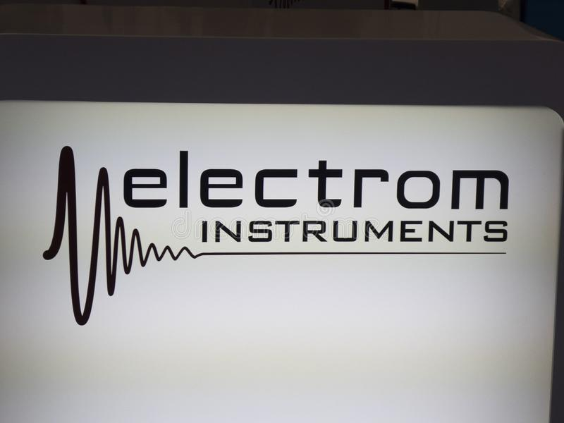 Electrom Instruments. Berlin, Germany - June 19, 2018: Electrom Instruments American company manufacturing surge testers and winding analysers for testing all royalty free stock photo