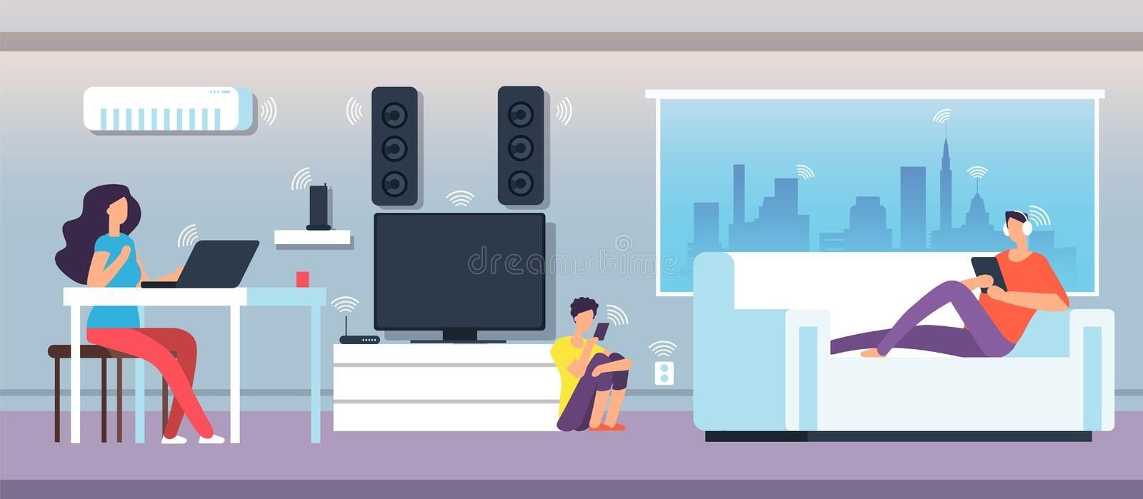Electromagnetic field in home. People under EMF waves from appliances and devices. Electromagnetic pollution vector royalty free illustration