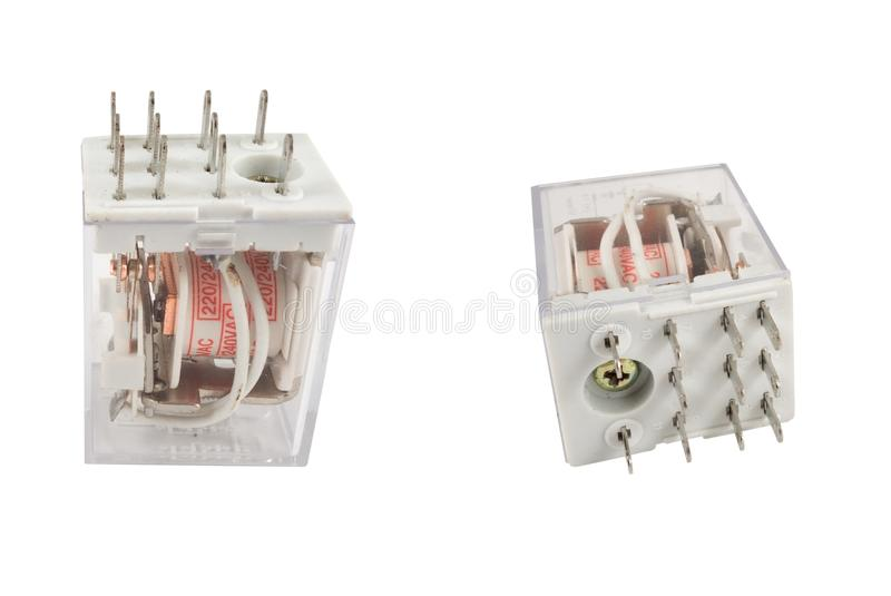 The electromagnetic relay. Isolated on white background royalty free stock photography